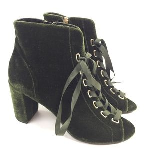 Kenneth Cole green velvet lace up Lania boots